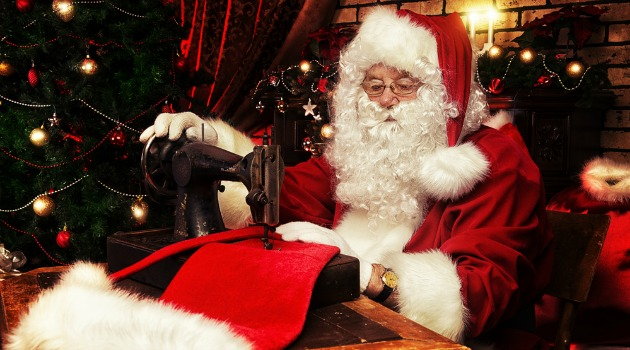 Father Christmas sewing