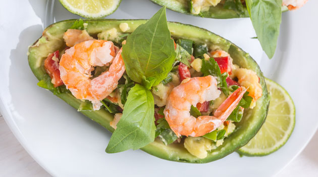 avocado and prawn cups