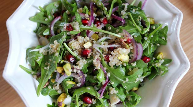 quinoa salad with pomegranates and pistachios