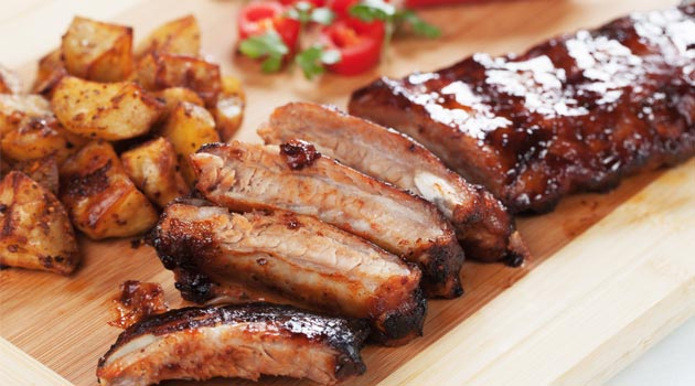 Crisp pork belly slices in BBQ sauce recipe
