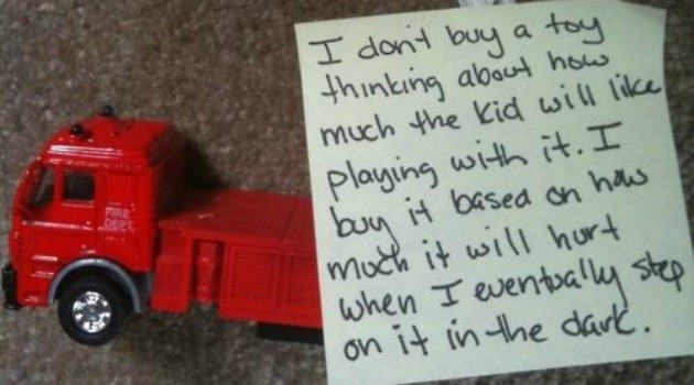 fire truck with post-it