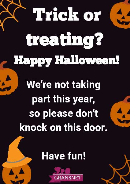 No Trick Or Treat Poster Halloween Safety Advice Gransnet