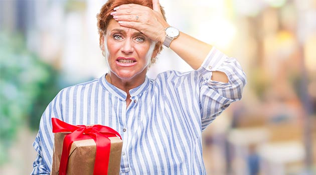 woman shocked with present
