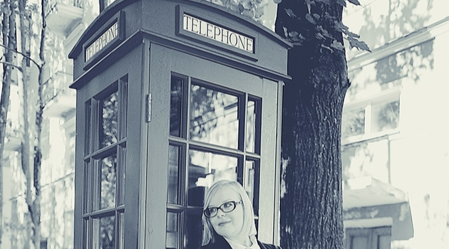 woman telephone box vintage