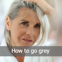 woman with grey hair - text