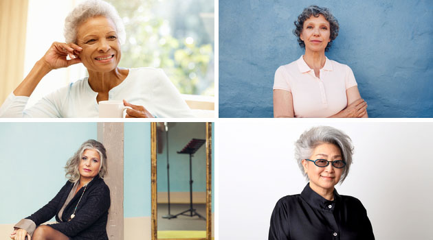 four senior women with different grey hair types