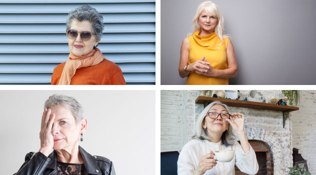 four mature women with grey hair