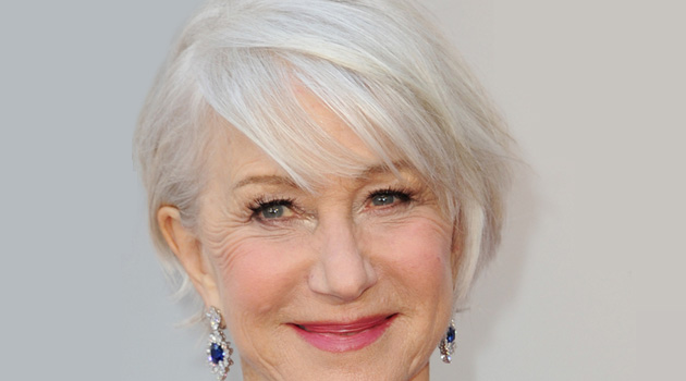 Helen Mirren with a long pixie cut