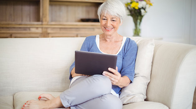 woman researching holiday